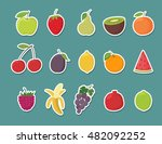fruit stickers set. cartoon... | Shutterstock .eps vector #482092252
