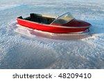 Boat Caught In Ice. Speedboat...
