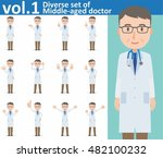diverse set of middle aged... | Shutterstock .eps vector #482100232