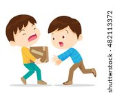 boys help lifting heavy.young... | Shutterstock .eps vector #482113372