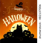 happy halloween vector postcard ... | Shutterstock .eps vector #482137006