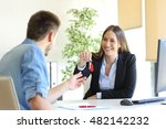 happy real estate agent giving... | Shutterstock . vector #482142232
