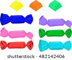 set of candies in wrapper.... | Shutterstock .eps vector #482142406