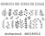 ink herbs and branches. vector... | Shutterstock .eps vector #482150512