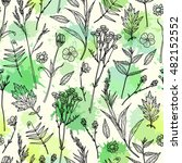 seamless pattern with plants.... | Shutterstock .eps vector #482152552
