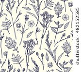 seamless pattern with plants.... | Shutterstock .eps vector #482152585