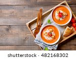 tomato soup with cream and... | Shutterstock . vector #482168302
