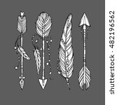 vector doodle bow arrows set... | Shutterstock .eps vector #482196562