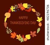 happy thanksgiving sticker  tag ... | Shutterstock .eps vector #482196736