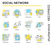social network icons  thin line ... | Shutterstock .eps vector #482199832
