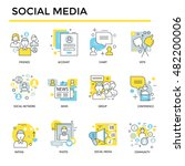 social media icons  thin line ... | Shutterstock .eps vector #482200006