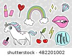 fashion quirky cartoon doodle... | Shutterstock .eps vector #482201002