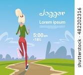 sport woman run with fitness... | Shutterstock .eps vector #482202316