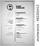 minimalist cv  resume template... | Shutterstock .eps vector #482202412