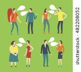set of cartoon speaking people... | Shutterstock .eps vector #482208052