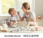 cute little girl and her... | Shutterstock . vector #482218498