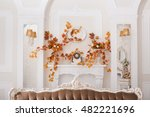 Yellow Leaves Entwined Wall Of...