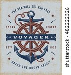 vintage nautical voyager... | Shutterstock . vector #482222326