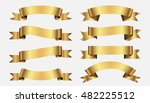 set of golden ribbons   Shutterstock .eps vector #482225512