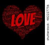love word cloud in heart shape... | Shutterstock .eps vector #482227756