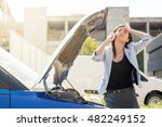 woman and car issue relationship | Shutterstock . vector #482249152