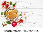apple  pomegranate and honey ... | Shutterstock . vector #482254615
