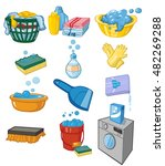 washing and laundry set of vector clip art, vector icons.  washable sweaters, laundry, washing clothes, washing children