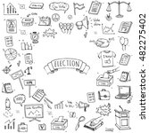 hand drawn doodle vote icons... | Shutterstock .eps vector #482275402