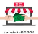 pay money to shopping online... | Shutterstock .eps vector #482280682