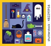 enjoy halloween day flat design ... | Shutterstock .eps vector #482295916