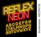 reflex neon font vector... | Shutterstock .eps vector #482296732