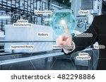 business man touching industry... | Shutterstock . vector #482298886