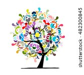 mandala tree  floral sketch for ... | Shutterstock .eps vector #482300845