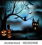 halloween castle grave yard... | Shutterstock .eps vector #482302408