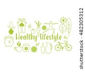 healthy life style in flat... | Shutterstock .eps vector #482305312