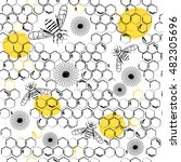 honey pattern. natural honey... | Shutterstock .eps vector #482305696