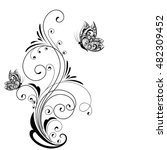 Flower abstract elements for design with butterflies. Vector illustration.