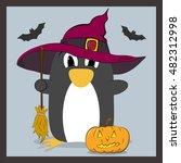 penguin in hat with a broom | Shutterstock .eps vector #482312998