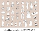 fashionable clothes sketch set | Shutterstock .eps vector #482321512