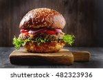 closeup of home made beef... | Shutterstock . vector #482323936