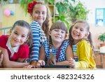 girls  from elementary school... | Shutterstock . vector #482324326