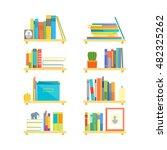 book shelves with different... | Shutterstock .eps vector #482325262