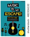music is my escape   flat style ... | Shutterstock .eps vector #482326132