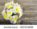 white daffodils at china vase... | Shutterstock . vector #482326888