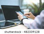 closeup of the girl's hands in... | Shutterstock . vector #482339128