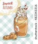jar of latte or coffee dessert... | Shutterstock .eps vector #482343316