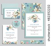 vintage wedding invitation set... | Shutterstock .eps vector #482352232