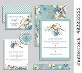 vintage wedding invitation set... | Shutterstock .eps vector #482352232