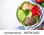 healthy salad bowl with quinoa  ... | Shutterstock . vector #482361682