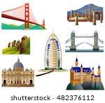 world landmarks  set 3. vector... | Shutterstock .eps vector #482376112